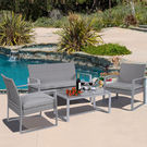 4-Piece Steel/Rattan Patio Set