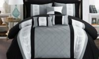 8 or 10pc Chic Home Pintuck Color Block Comforter Set