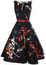 Women's Floral Print Flare Dress with Belt