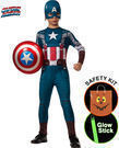 Boys Captain America Costume w/ Trick or Treat Safety Kit