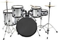 Best Choice 5 Pc. Complete Full Size Silver Drum Set