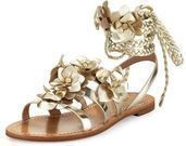 Tory Burch Blossom Leather Gladiator Sandal, Gold