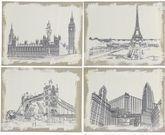 Burlap Cities 4 Piece Painting Print Set
