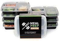 Meal Prep Haven 3 Compartment Food Containers 7-Pack