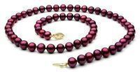 18 Cranberry Red Freshwater Pearl Necklace w/ 14K Gold
