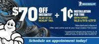 Costco - Michelin Tires $70 Off + $0.01 Installation per Tire