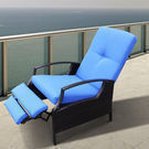 Outsunny Wicker Adjustable Recliner Chair (Garden Blue)