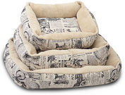 Paws & Pals: 1800's Newspaper Short Velvet Pet Bed (3 Sizes)